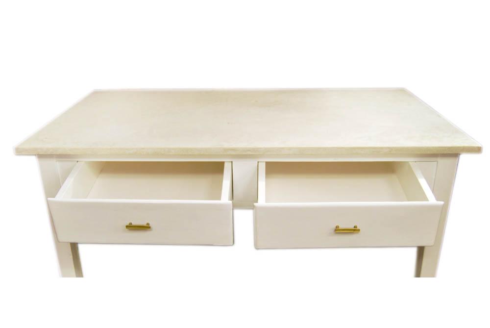 Mesa cocina blanca con microcemento brocante mallorca for Mesa cocina blanca
