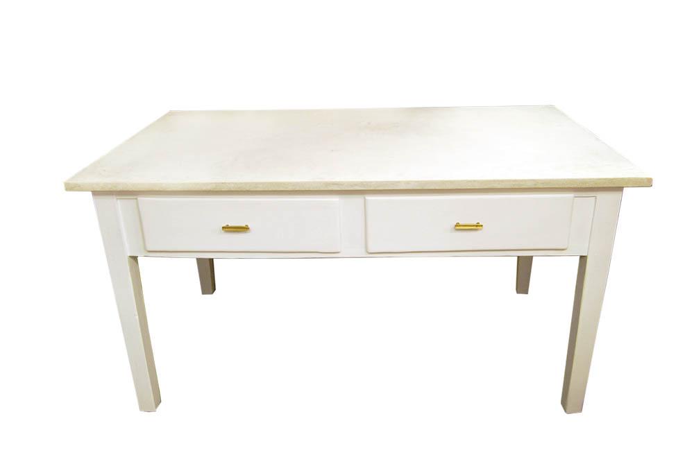 Mesa Cocina Blanca Con Microcemento Brocante Mallorca - Mesa-cocina-blanca
